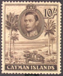 1943 Cayman Islands 10s Chocolate, P.14, SG 126a, MH
