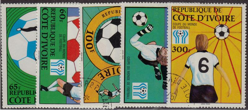 IVORY COAST CTO Scott # 466-470 World Cup (5 Stamps)
