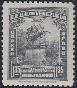 Venezuela 1942 1.35b Grey Black. LM Mint. Scott C158, SG 641