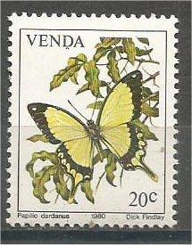 VENDA, 1980, MNH 20c, Butterflies, Scott 39