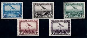 [69103] Belgium 1930 Airmail set of 5 Original Gum MNH