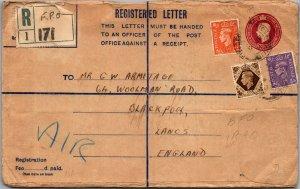 RAF Habbaniyah Iraq > Blackpool UK Registered leather wallet airmail customs