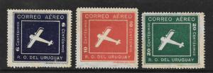 Uruguay Scott #C4-6  Mint  set Biplane  Stamps 2015 CV $11.00