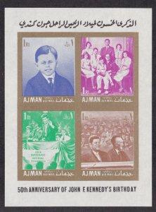 Ajman M # Block 11B & 12B,. John F. Kennedy Birth Anniversary, Imperf,  NH,