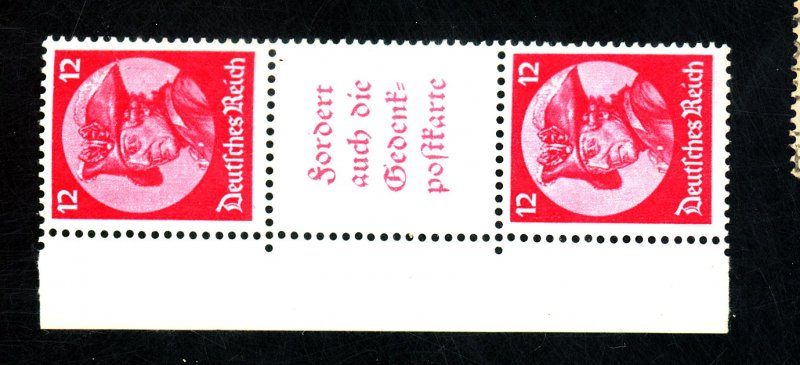 GERMANY #399 MICHEL #S105 MINT GUTTER LABEL PAIR VF NH Cat $142
