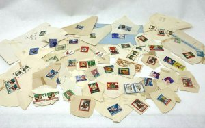 Collection of vintage cinderella stamps on paper 1930s-60s Christmas charities