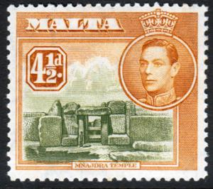 Malta KGVI 1938 4.5d Olive-Green Yellow-Brown SG224 Mint Hinged
