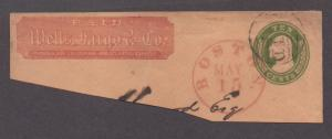 **US 19th Century Postal Stationery Cover, SC# U17 on Wells Fargo Partial Cover
