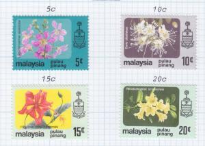 PENANG, MALAYSIA, 1983-1985 no watermark Flowers set of 4, lhm.