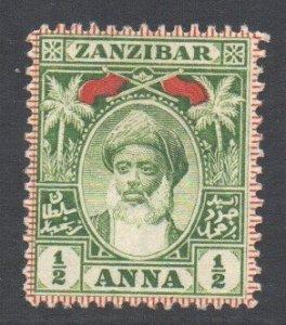 Zanzibar Scott 62 - SG188, 1899 Sultan 1/2a MH*