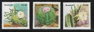 #1908 BRASIL BRAZIL1983 FLORA FLOWERS CACTUS YV 1622-4 MI 1996-8 MNH