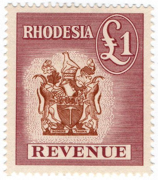 (I.B) Rhodesia Revenue: Duty Stamp £1
