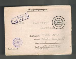 1943 Germany England Army POW Camp Ltr Cover Stalag 344 Palestine