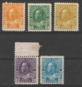 CANADA 1922 KGV RANGE TO 10C