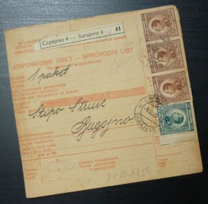 Yugoslavia 1926 Parcel Card from Sarajevo to Bugojno Bosnia A5