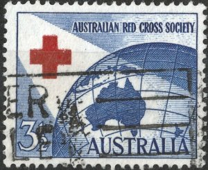 Australia 1954 QEII 3½d Red Cross with Left Arm of Cross Short Used