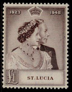 ST. LUCIA GVI SG145, £1 purple-brown, M MINT. Cat £17.
