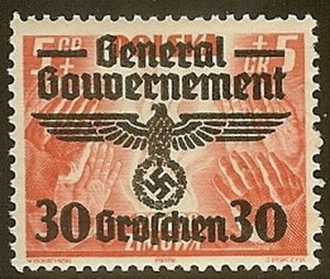 Stamp Germany Poland General Gov't Mi 030 Sc N48 1940 WWII Party Era Eagle MNH