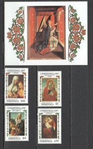 QD0706 1987 DOMINICA ART CHRISTMAS 1987 #1061-64 MICHEL 13 EURO BL+SET MNH