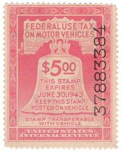 (I.B) US Revenue : Motor Vehicle Tax $5 (1943)