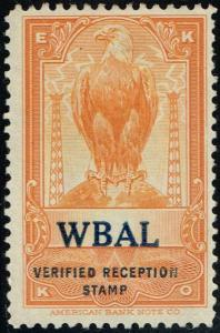 USA  - EKKO -  WBAL - Baltimore, MD - Verified Reception Stamp $19.95