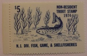 United States Revenue New Jersey Non Resident Trout Fishing 1974  MNH
