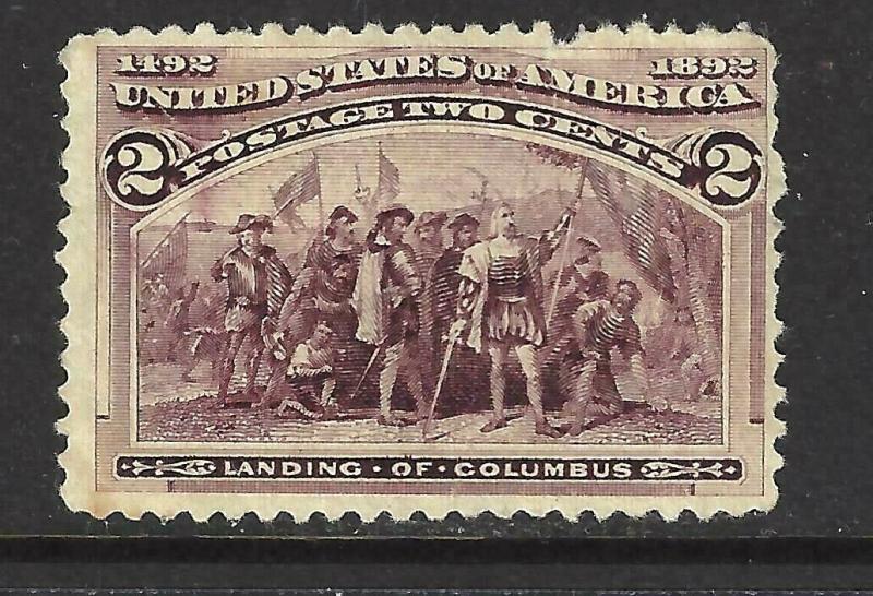 #231 US 2 CENT BROWN VIOLET COLUMBIAN-MINT-N/H-FINE