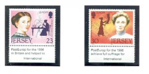 Jersey  Sc 748-9 1996 Europa Famous Women stamp set mint  NH
