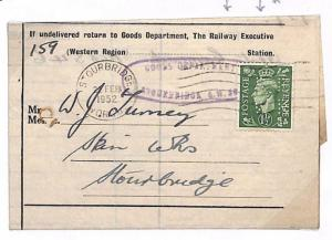 A277 1952 GB OFFICIAL PERFIN *RE/WR*Railway Executive Western Region Cover Worcs