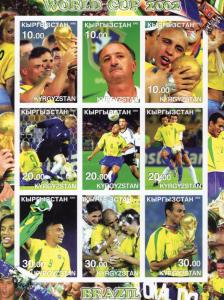 Kyrgyzstan 2002 WORLD CUP BRAZIL CHAMPION/SCOLARI Sheetlet (9) IMPERFORATED MNH