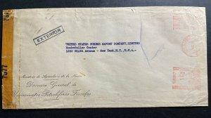 1942 Buenos Aires Argentina Oil Deposit Dept Meter Cancel Cover To New York Usa