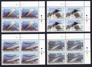 BAT WWF Blue Whale 4 Top Right Corner Blocks with margins SG#361-364 MI#353-356