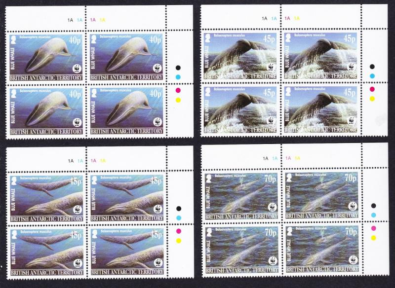 BAT WWF Blue Whale 4 Corner Blocks of 4 SG#361-364 MI#353-356 SC#326-329