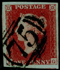 SG8, 1d red-brown, FINE USED. 4 MARGINS.