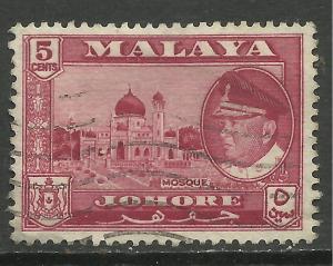 Malaya Johore 1960 5ct Carmine mosque SG 158 ( E885 )