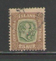 Iceland Sc 801907 25 aur bistre brown & green 2 Kings stamp used