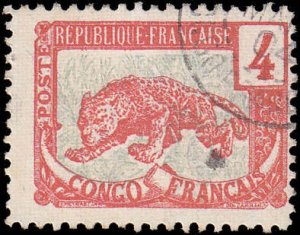 French Congo Scott 37 Leopard - Used