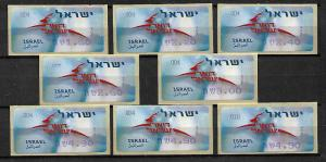 ISRAEL STAMPS ATM MACHINE LABELS. 2006. MNH