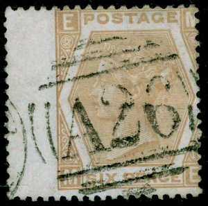 SG123, 6d pale buff plate 11, USED. Cat £38. A26 GIBRALTAR. ME