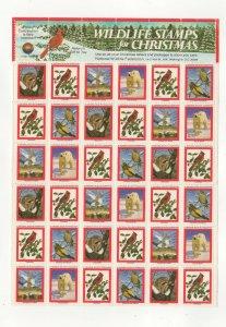 USA National Wildlife Federation Christmas Stamps 1981 Sheet of 36 MNH