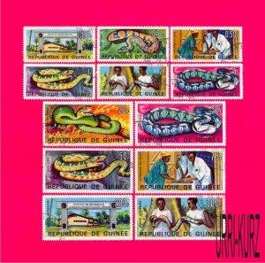 GUINEA 1967 Nature Fauna Reptiles Snakes 12v Sc465-474,С88-С89 Mi425-436 CTO