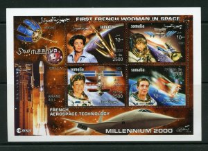 SOMALIA FIRST FRENCH WOMAN IN SPACE FRENCH AEROSPACE  TECHNOLOGY SHEET  MINT NH