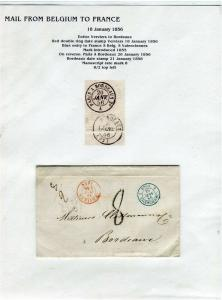 FRANCE Early Incoming LETTER/COVER 1856 fine used item Verviers - Bordeaux