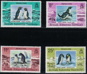 British Antarctica SC72-75 Penguins:Gentco-Macaroni-Adelie&EmperorPenguinsMNH'79