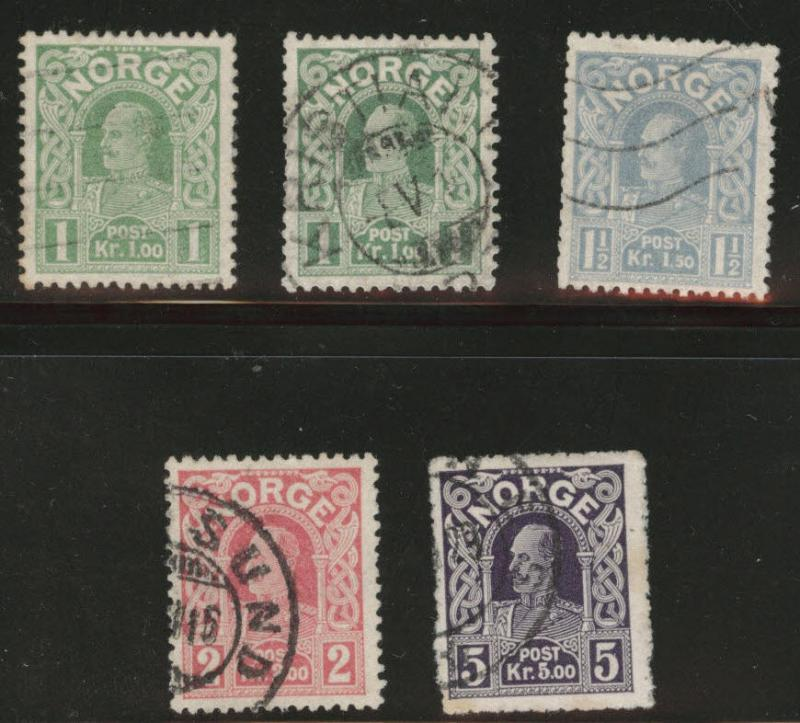 Norway Scott 70a-73 King Haakon Die C stamp 1911 stamps