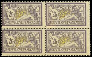 FRANCE #126/Maury 122 1900 2fr GRAY VIOLET & YELLOW MLH/MNH BLOCK CV$5500