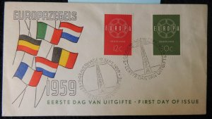 Netherlands 1959 FDC europa cept flags amsterdam pm good used
