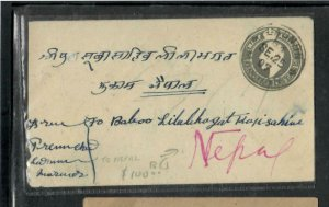 NEPAL COVER (PP0906BB) 1910 INDIA KE 1/2A ON PSE TO NEPAL ARRIVAL B/S