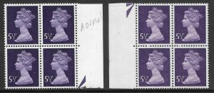 5½p Decimal Machin with CB on uncoated paper block of 4 UNMOUNTED MINT