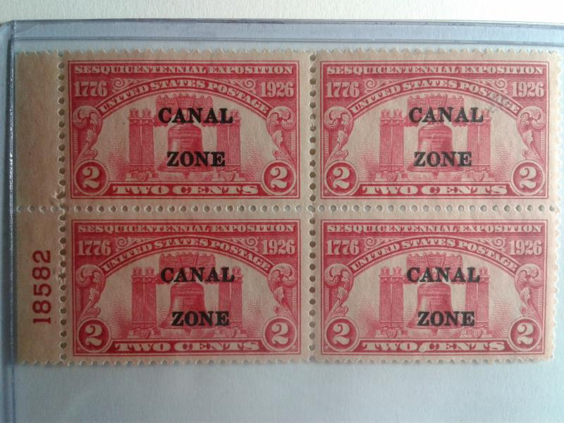 SCOTT # 96 CANAL ZONE PLATE BLOCK # 18582 MINT NEVER HINGED GEM 1926